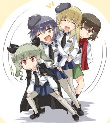 4girls anchovy anzio_school_uniform belt beret black_hair black_hat black_legwear black_neckerchief black_necktie black_shoes black_skirt blonde_hair blouse braid brown_eyes brown_hair brown_shoes caesar_(girls_und_panzer) cape carpaccio closed_mouth dress_shirt drill_hair emblem full_body girls_und_panzer green_hair green_skirt hands_on_hips hands_on_thighs hat kitayama_miuki loafers long_hair long_sleeves looking_at_viewer miniskirt multiple_girls neckerchief necktie one_eye_closed ooarai_school_uniform open_mouth pantyhose pepperoni_(girls_und_panzer) pleated_skirt pose red_eyes red_scarf scarf school_uniform serafuku shirt shoes side_braid skirt smile socks squatting standing sweatdrop twin_drills twintails wavy_mouth white_blouse white_legwear white_shirt