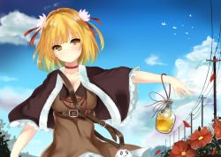 1girl bangs blonde_hair blush bottle breasts brown_shirt capelet choker cleavage closed_mouth day flower hair_ornament looking_at_viewer medium_breasts mikagemaru_(mikage000) original outdoors shirt short_hair smile solo telephone_pole upper_body utility_pole yellow_eyes