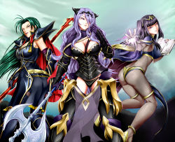 3girls armor ass axe black_hair bodystocking book breasts camilla_(fire_emblem_if) cape cleavage detached_leggings fire_emblem fire_emblem:_kakusei fire_emblem:_souen_no_kiseki fire_emblem_if glowing_weapon gradient_background green_hair magic multiple_girls nintendo prague_(fire_emblem) purple_hair spear tharja yomitrooper