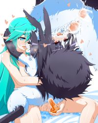 1boy 1girl bestiality black_hair blue_eyes censored comic cum dildo french_kiss goushu japanese long_hair nude open_mouth penis poined_ears pussy rabbit red_eyes sex tears translation_request