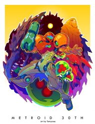 1girl alien anniversary arm_cannon armor artist_name beak chozo copyright_name full_armor glowing glowing_eye metroid metroid_(creature) mother_brain one-eyed open_hand outstretched_arm power_armor power_suit ridley samus_aran sharp_teeth space_pirate spikes standing teeth tomycase varia_suit weapon