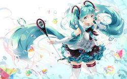 1girl aqua_eyes aqua_hair boots bow commentary_request dress gloves hatsune_miku headphones highres k.syo.e+ long_hair looking_at_viewer magical_mirai_(vocaloid) microphone necktie revision solo thighhighs twintails very_long_hair vocaloid white_gloves