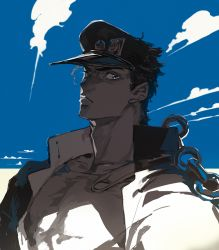 1boy black_hair bust chains cloud drawr earrings gakuran hat jewelry jojo_no_kimyou_na_bouken kuujou_joutarou looking_at_viewer male male_focus mousariababa peaked_cap school_uniform sky solo