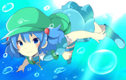 1girl backpack bag blue_eyes blue_hair blush boots bubble dress hair_bobbles hair_ornament hat highres jewelry kawashiro_nitori key key_necklace light_rays looking_at_viewer necklace pocket puffy_short_sleeves puffy_sleeves rubber_boots shirt short_hair short_sleeves skirt skirt_set smile solo sunbeam sunlight touhou twintails underwater wet wet_clothes