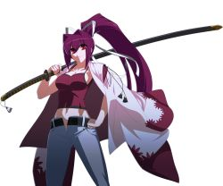1girl artist_request breasts cleavage collarbone denim french-bread hair_intakes hair_ribbon hand_on_hip high_ponytail highres holding jeans katana long_hair navel official_art open_fly over_shoulder pants ponytail purple_hair red_eyes ribbon sheath smile solo sword tank_top transparent_background under_night_in-birth unzipped weapon weapon_over_shoulder yuzuriha_(under_night_in-birth)