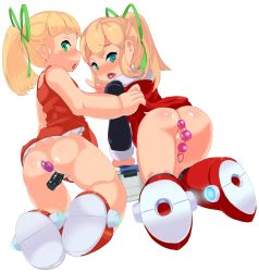 2girls anal_beads anal_object_insertion ass blonde_hair blush capcom censored dildo loli looking_at_viewer looking_back man0. mosaic_censoring multiple_girls no_panties open_mouth pointless_censoring pussy rockman rockman_(classic) roll sex_toy shiny_hair shiny_skin tongue vaginal_object_insertion white_background