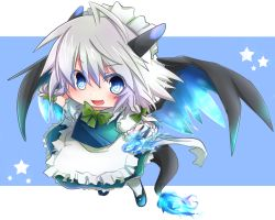 >:d 1girl :d ahoge asyuaffw blue_eyes blue_fire bow braid chibi dragon_horns dragon_tail dragon_wings fire hair_bow hair_ribbon highres holding izayoi_sakuya kemonomimi_mode knife looking_at_viewer maid maid_headdress mega_charizard_x open_mouth pokemon ribbon short_hair silver_hair sketch smile solo tail touhou twin_braids wings