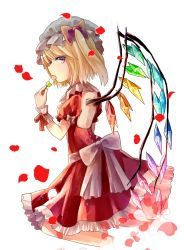 1girl alternate_costume bangs blonde_hair bow crystal dango dress eating flandre_scarlet food frilled_dress frills from_side hat hat_bow kneeling looking_at_viewer looking_to_the_side mob_cap open-back_dress petals profile puffy_short_sleeves puffy_sleeves red_dress red_eyes rose_petals sakipsakip short_sleeves side_ponytail solo touhou wagashi wings wrist_cuffs
