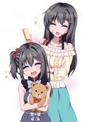 2girls :d ^_^ bare_shoulders black_hair brush burn_scar collarbone doll_hug dorei_to_no_seikatsu_~teaching_feeling~ eyes_closed hair_ornament hairclip hairdressing happy if_they_mated long_hair mother_and_daughter multiple_girls musical_note older open_mouth scar side_ponytail simple_background skirt smile stuffed_animal stuffed_toy sylvie_(dorei_to_no_seikatsu) takahiko teddy_bear