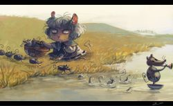 1girl animal_ears basket capelet commentary dowsing_rod grey_hair jewelry koto_inari mouse mouse_ears mouse_tail nazrin pendant puppet river short_hair tail tooth touhou washing whiskers