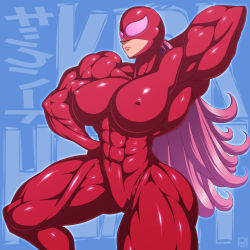 10s 1girl abs breasts extreme_muscles female kick-heart large_breasts long_hair mask muscle pink_hair pose ren_(tainca2000) solo thick_thighs thighs