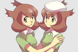 2girls alternate_form bad_id beret brown_hair dual_persona grey_eyes hat kanon_(pokemon) komugi_(wabisuke_maruden) komugi_p latias multiple_girls pokemon pokemon_(anime) smile