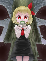 1girl :o blonde_hair frog hair_ribbon necktie qbthgry rain red_eyes ribbon rumia shirt short_hair skirt touhou tree under_tree vest