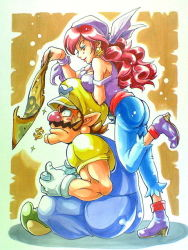 $ 1boy 1girl anei ass bandanna bare_shoulders boots breast_rest breasts breasts_on_head captain_syrup cleavage controller dollar_sign earrings facial_hair game_controller gamepad hat jewelry leg_lift leg_up legs_crossed long_hair map mario_(series) marker_(medium) medium_breasts muscle mustache nintendo off_shoulder overalls pants red_hair red_nose sash sitting super_mario_bros. traditional_media wario wario_land