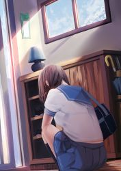 1girl bag black_legwear blue_skirt breasts brown_hair commentary_request day dutch_angle eleaclarisse from_behind highres indoors kneehighs lamp long_hair medium_breasts original pleated_skirt school_bag school_uniform serafuku shirt short_sleeves sitting skirt sliding_doors solo sunlight umbrella white_shirt window