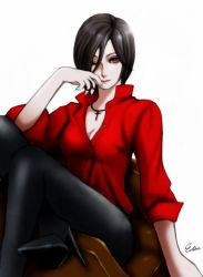 1girl ada_wong black_hair black_legwear breasts brown_eyes cross cross_necklace esther high_heels highres one_eye_closed pantyhose resident_evil resident_evil_6 shirt short_hair sitting sleeves_pushed_up solo unbuttoned