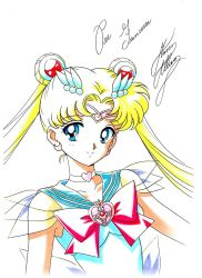 1girl bishoujo_senshi_sailor_moon blonde_hair blue_eyes bow brooch choker crescent crescent_earrings double_bun earrings hair_ornament hairpin highres jewelry long_hair looking_at_viewer magical_girl marco_albiero marker_(medium) red_bow sailor_collar sailor_moon signature smile solo super_sailor_moon tiara traditional_media tsukino_usagi twintails upper_body white_background