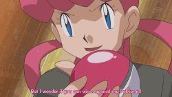 1girl animated animated_gif blue_eyes joy_(pokemon) latias pink_hair pokemon pokemon_(anime) subtitled
