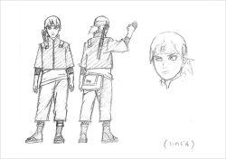 1boy black_&_white boruto:_the_movie forehead_protector kishimoto_masashi male_focus naruto official_art sketch solo wink yamanaka_inojin