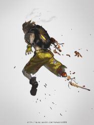 1boy alle_page blonde_hair boots chains fiery_hair fingerless_gloves fire from_behind full_body gloves green_gloves green_shorts grey_background junkrat_(overwatch) leg_wrap male_focus mechanical_arm mechanical_hand overwatch peg_leg short_hair shorts simple_background single_glove smoke solo spikes tire watermark web_address
