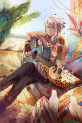 1boy bare_shoulders beach bird blue_eyes boots chain_chronicle chair fingerless_gloves gabuccc gloves guitar highres instrument jewelry legs_crossed necklace pillow ring seagull sheet_music shirtless sitting solo sunlight tattoo white_hair wristband
