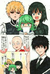 2boys 2girls :d bald black_sclera blonde_hair brown_eyes comic cyborg earrings fubuki_(one-punch_man) genos green_eyes green_hair highres jewelry marker_(medium) mehonobu_g multiple_boys multiple_girls necktie one-punch_man open_mouth partially_translated photo_(object) red_eyes saitama_(one-punch_man) short_hair smile surprised sweatdrop tatsumaki text traditional_media upper_body