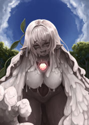 1girl :d artist_name barbariank blue_sky breasts cloud dorome_(monster_girl_encyclopedia) elemental_(creature) from_below gem goo_girl hanging_breasts highres large_breasts leaf looking_at_viewer monster_girl monster_girl_encyclopedia open_mouth outdoors plant pointy_ears sky smile solo tagme tree vines