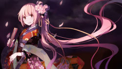 1girl cherry_blossoms fan flower folding_fan hair_flower hair_ornament hello_kitty japanese_clothes kimono long_hair looking_at_viewer nekomura_iroha petals pink_hair red_eyes side_ponytail solo very_long_hair vocaloid xk_xk