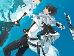1boy black_hair coat daizu_yan elsword eyes_closed gloves male pants raven_(elsword) reflection solo sword underwater weapon