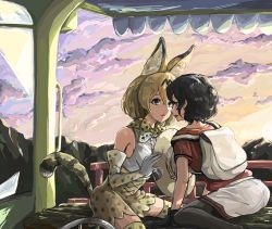 2girls animal_ears artist_request backpack bag black_gloves black_hair blonde_hair bucket_hat elbow_gloves gloves hair_between_eyes hat hat_feather highres incipient_kiss kaban kemono_friends multiple_girls open_mouth red_shirt serval_(kemono_friends) serval_ears serval_print serval_tail shirt short_hair shorts tail wavy_hair yuri