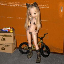 1girl 3d bicycle bikini food loli looking_at_viewer micro_bikini posing tagu-2