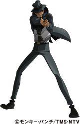 1boy absurdres formal gun handgun hat highres jigen_daisuke lupin_iii revolver simple_background smoking solo suit weapon white_background