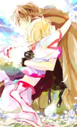 1boy 1girl brown_hair couple dorayan eyes_closed hug sakura_hime short_hair hetero tsubasa_chronicle xiaolang