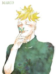 1boy blonde_hair butterfly male_focus marco one_piece solo