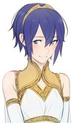 1girl blue_eyes blue_hair blush dress fire_emblem fire_emblem:_kakusei lowres lucina my_unit_(fire_emblem:_kakusei) short_hair smile tusia