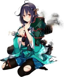 1girl ahoge arrow black_gloves black_legwear blue_skirt blush bow_(weapon) breasts cleavage damaged floral_print full_body gloves hair_flaps hair_ornament hairband kantai_collection kujou_ichiso large_breasts long_hair long_sleeves low_twintails machinery muneate no_shoes official_art pantyhose pleated_skirt purple_hair quiver ryuuhou_(kantai_collection) sandals school_uniform serafuku single_glove sitting skirt smoke solo taigei_(kantai_collection) thigh_strap torn_clothes transparent_background turret twintails weapon whale whale_hair_ornament wide_sleeves yugake