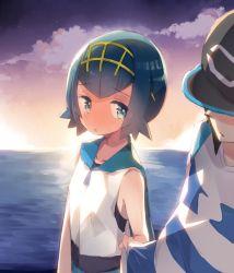 1boy 1girl blue_hair blush child clouds hat kanro_ame_(ameko) male_protagonist_(pokemon_sm) pokemon pokemon_(game) pokemon_sm sea striped_shirt suiren_(pokemon) sunset swimsuit