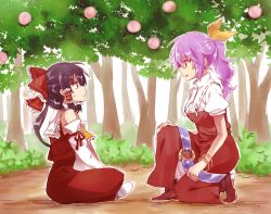 2girls ascot black_hair bow bracelet detached_sleeves dress food fruit hair_bow hair_tubes hakurei_reimu highres japanese_clothes jewelry kneeling miko multiple_girls o-ring peach ponytail profile puffy_short_sleeves puffy_sleeves purple_hair short_sleeves sitting six_(fnrptal1010) sweat touhou tree watatsuki_no_yorihime