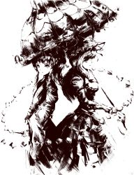 2girls alternate_costume bangs breasts cleavage coat corset elbow_gloves expressionless from_side gloves gohei hair_tubes hakurei_reimu highres holding holding_umbrella long_hair long_sleeves looking_at_viewer medium_breasts monochrome multiple_girls ougibro_(spookybro) pants ponytail puffy_short_sleeves puffy_sleeves ribbon_trim rope shimenawa short_hair short_sleeves sidelocks simple_background smile standing touhou umbrella white_background wide_sleeves yakumo_yukari