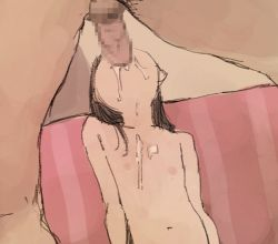 1boy 1girl animated animated_gif areolae black_hair censored deepthroat fellatio irrumatio loli mosaic_censoring nipples nude oral otohime_(youngest_princess) penis photoshop sketch