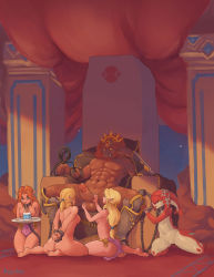 1boy 4girls abs ass bad_end barefoot blue_eyes bound bound_wrists breasts chained chains collar crossover cuffs earrings ganondorf genderswap genderswap_(mtf) greaves handjob harem hetero highres jewelry large_penis large_testicles link long_hair low-tied_long_hair malon medium_breasts milk mipha monster_girl multiple_girls muscle navel no_pupils nude orange_hair pelvic_curtain penis pointy_ears princess_zelda pussy red_hair roxy_rex shackles short_ponytail slave soles the_legend_of_zelda the_legend_of_zelda:_breath_of_the_wild the_legend_of_zelda:_ocarina_of_time throne toes topless tray tusks uncensored whip zora