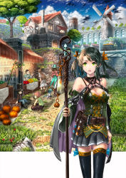 2girls 3boys :o bare_shoulders barrel basket belt black_hair boots box breasts bridge brown_hair buckle building bustier cape cat child chimney cleavage cliff clothesline cloud coat crystal detached_sleeves fantasy flower food fruit green_eyes hair_flip hair_ribbon hat highres horse house laundry long_hair medium_breasts multiple_boys multiple_girls nagi_itsuki o-ring_top open_mouth original pink_hair pleated_skirt pumpkin ribbon road rock scenery shadow shop short_hair short_twintails sitting skirt sky solo_focus squatting staff stairs standing thighhighs top_hat tower town tree twintails vial wagon walking wide_sleeves windmill zettai_ryouiki