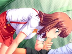 1girl amano_mitsurugi blush breasts brown_hair censored dutch_angle fellatio game_cg green_eyes highres kneeling large_breasts legs looking_at_another mama_camp_plus! mosaic_censoring oral penis short_hair shorts sitting skirt solo_focus suspenders thighs unzipped