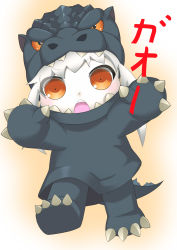 1girl absurdres alternate_costume brown_eyes cosplay godzilla godzilla_(series) gori-san highres kantai_collection kigurumi looking_at_viewer northern_ocean_hime open_mouth pose shinkaisei-kan solo translation_request white_hair white_skin