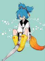 1boy bandage blue_hair boots green_eyes l_hakase male_focus sayo_samonji simple_background sitting solo touken_ranbu twitter_username umbrella