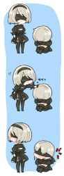 1boy 1girl absurdres blindfold boots breasts chibi cleavage cleavage_cutout comic dress feather-trimmed_sleeves gloves high_heel_boots high_heels highres juliet_sleeves long_sleeves mole mole_under_mouth nier_(series) nier_automata panels petting puffy_sleeves short_hair shorts simple_background standing text thigh_boots thighhighs translation_request white_hair yorha_no._2_type_b yorha_no._9_type_s