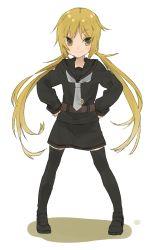 :3 blonde_hair hands_on_hips hita_(hitapita) kantai_collection long_hair satsuki_(kantai_collection) smile twintails uniform yellow_eyes