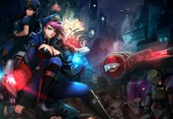 3girls blitzcrank blue_eyes boots breasts caitlyn_(league_of_legends) cherrylich cigar cleavage earrings elbow_gloves gauntlets gloves grin gun hat jewelry jinx_(league_of_legends) large_breasts league_of_legends lips long_hair multiple_girls pink_hair police police_hat police_uniform rifle robot sitting sitting_on_person smile smoking tattoo tattooed_breast uniform vi_(league_of_legends) weapon
