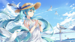 1girl animal aqua_eyes aqua_hair bangs bead_bracelet bird blue_ribbon blue_sky blush bottle bracelet cloud condensation_trail dress eyelashes flat_chest floating_hair flower from_side glass glass_bottle hair_between_eyes hat hat_flower hat_ribbon hatsune_miku highres holding holding_bottle jewelry k.syo.e+ lens_flare long_hair motion_blur necklace ocean outdoors parted_lips railing ribbon scroll seagull sky sleeveless sleeveless_dress straw_hat summer sundress tower twintails upper_body very_long_hair vocaloid water_drop white_dress wind