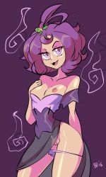 1girl acerola_(pokemon) bigdead93 breasts female hair_ornament looking_at_viewer naughty_face nintendo panties pokemon pokemon_sm pussy shiny_skin short_hair small_breasts smile snipples sweat thong